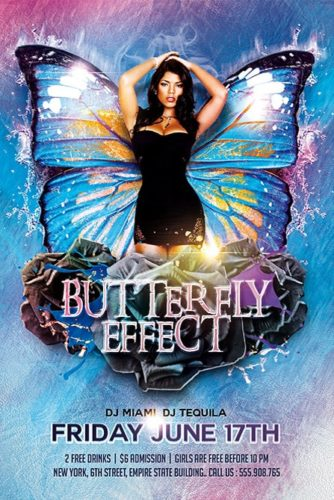 elegant girl flyer with butterfly