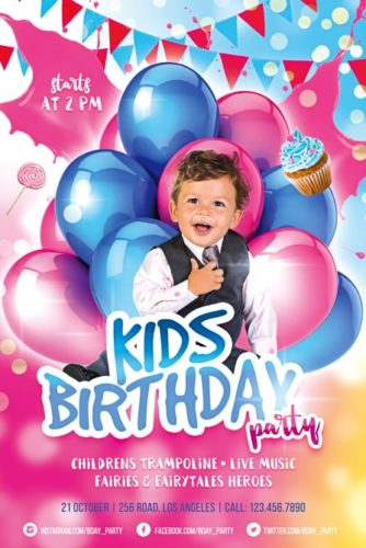 happy boy with baloons party flyer template