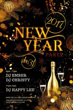 new year party with gold bottles