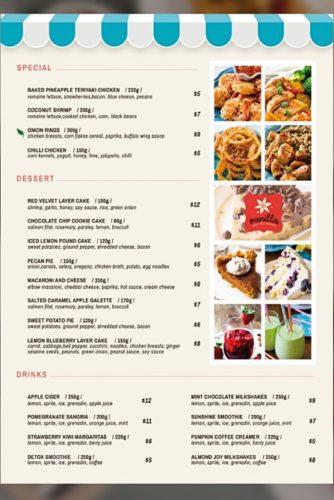menu template with photos